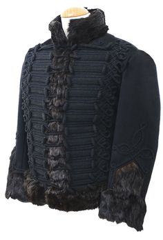 Royal Artillery Pelisse circa 1815  A faithful copy of the Regimental Pelisse made in best dark blue military grade wool with black russia lace and black wool covered bosses.