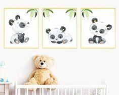 Panda poster set of 3 Canvas Print, Gray Panda Wall Decor, Panda Print , Stickers Print wall art, Baby Boy Nursery Decor Children Art