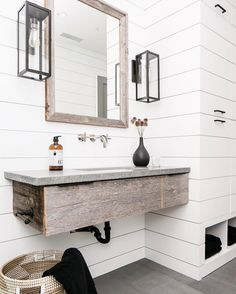 Rustic bathroom with white shiplap