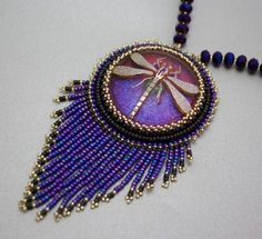 DRAGONFLY purple bead embroidered necklace by KerensJewelry