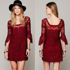 Womens Floral Lace Crochet Prom Casual Career Party Cocktail Evening Beach Dress Red from Vogue Cabinet