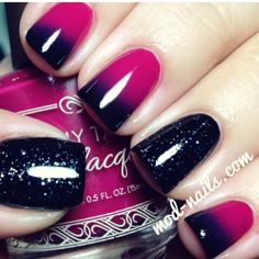 Nails, ombre, glitter, black and pink