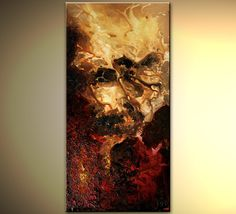 Original abstract art paintings by Osnat - textured painting red and beige