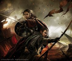 Art by magali-villeneuve - human archer and a human warrior in the thick of battle