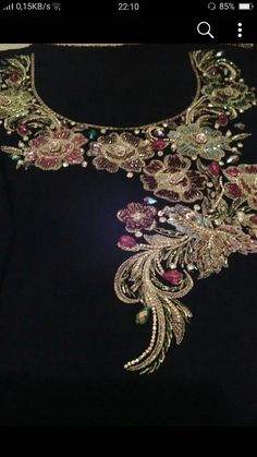 Great Cost-Free Beadwork on kurti Strategies Thread pressure can make a huge impact on how your rings looks. No-one wishes to commit a long time bead-weav Zardozi Embroidery, Embroidery On Kurtis, Kurti Embroidery Design, Hand Embroidery Dress, Embroidery Neck Designs, Tambour Embroidery, Couture Embroidery, Embroidery Suits, Embroidery Fashion