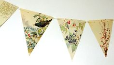 This lovely Christmas bunting is up-cycled from a previously loved copy of the beautiful book, The Nature Notes of an Edwardian Lady by Edith Holden. It makes perfect Christmas decoration and winter decor! This bunting has been made from some of Edith Holdens beautiful winter