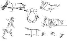 """Harnachement. Des attelages à 4 ou 6 chevaux sont employés pour tirer canons et caissons. L'attelage de 6 six est le plus utilisé, pour l'Art. à cheval et pour les pièces de 12 de l'Art. à pied. Le """"collier"""" en bois est capitonné de cuir noir et a un petit morceau de basane, noir ou blanc, au dessus. Le bois était peint en vert olive et les courroies étaient en buffle. Les parties en métal sont noires. Le harnais est en cuir coloré épais, les guides sont couleur châtaigne, tout comme la…"""