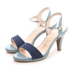 ブリジットバーキン Bridget Birkin カラーコンビシンプルヒールサンダル(ネイビーコンビ) -「買ってから選ぶ。」靴とファッションの通販サイト ロコンド