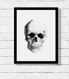 Quadro Decorativo Skull low poly