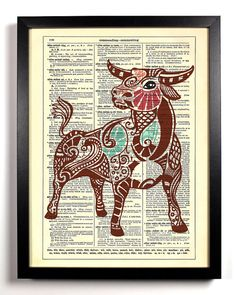 Taurus Astrology Zodiac Bull Repurposed Upcycled by StayGoldMedia, $6.99