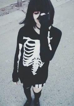 Black hair + skeleton sweater:
