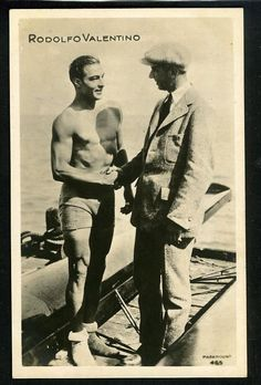 "Vintage RUDOLPH VALENTINO In Swimwear  Italian  Postcard 1920s   ""Great Star"""
