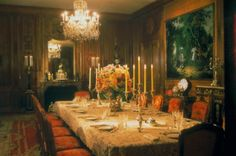 The Dining Room table is set with Marjorie Merriweather Posts services|Hillwood Estate