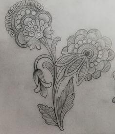 Motif Design, Textile Design, Crewel Embroidery, Embroidery Designs, Pencil Drawings, Art Drawings, Flower Art, Stitch Patterns, Tattoos