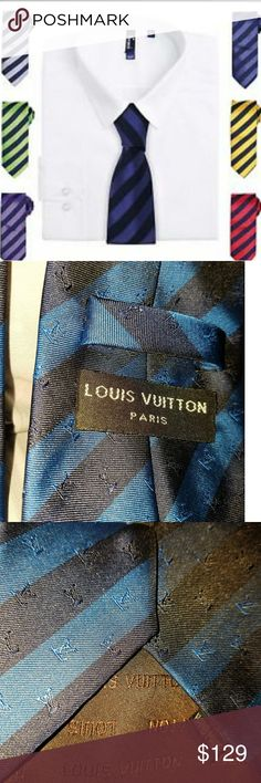 """Authentic Louis Vuitton Silk Club Tie Authentic Louis Vuitton Silk Club Tie. 100% Silk Handmade Tie. Blue with black stripes and signature """"LV"""" monogram throughout the design. Absolutely amazing timeless, and classy, tie!!! In like new condition! Louis Vuitton Accessories Ties"""