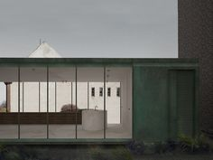 Our proposal for a private client; a new rooftop pavilion in patinated copper situated in the old part of Copenhagen. By Danielle Siggerud Architects Store Fronts, Pavilion, Copenhagen, Rooftop, Modern Architecture, Kitchen Island, Garage Doors, Old Things, Exterior
