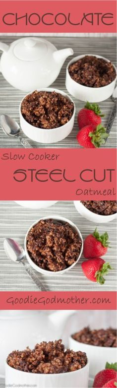 Healthy steel cut oats in the slow cooker... with chocolate! Recipe on GoodieGodmother.com Breakfast Crockpot Recipes, Oats Recipes, Paleo Breakfast, Best Breakfast, Slow Cooker Recipes, Smoothie Recipes, Breakfast Ideas, School Breakfast, Clean Recipes