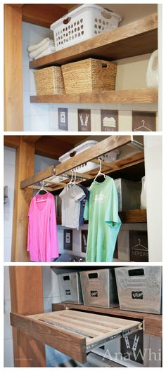Floating Shelves Pull Out Drying Racks and Hanging Rods (Ana White) Laundry Room Shelves, Laundry Closet, Closet Shelves, Laundry Room Organization, Laundry Room Design, Laundry Storage, Closet Racks, Laundry Rooms, White Floating Shelves