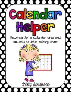 Calendar Helper: resources for instruction and binder
