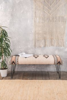 Cream Wooden Long Bench with Iron Legs