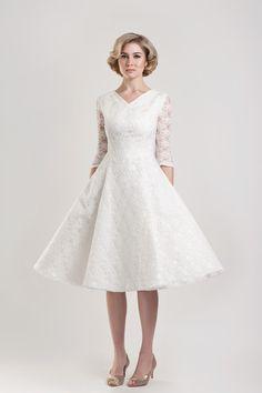 pictures of wedding dresses for older brides tea length