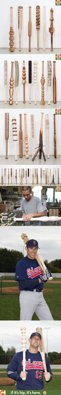 30 hand carved wood baseball bats by Vincent Kohler.