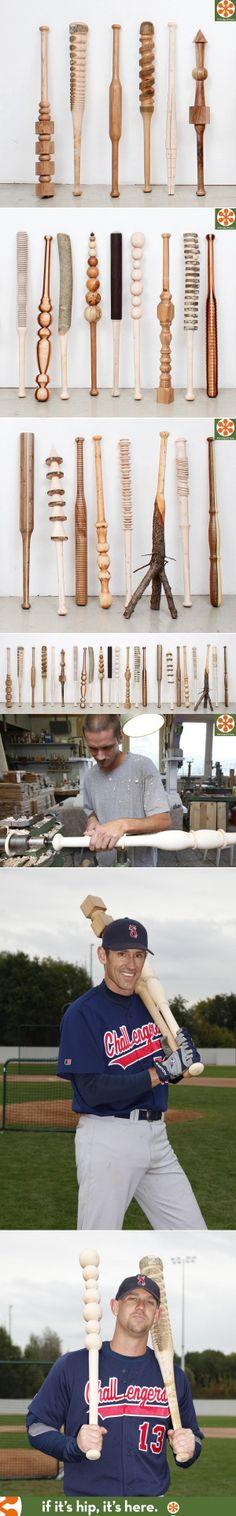 30 hand carved wood baseball bats by Vincent Kohler.