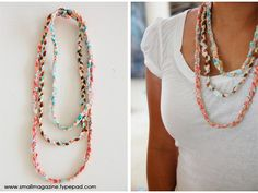 Eco Housekeeping Tip #25: Recycled t-shirt necklaces.    1. Cut/tear 1 inch strands out of scrap fabric or an old t-shirt.  2. The length of the stands is up to you. Make them however long you want your necklace(s) to be.  3. Braid three strips of fabric together and then sew the ends to create your necklace.  4. As shown in the photo, a couple different lengths adds character and color to your new necklace.