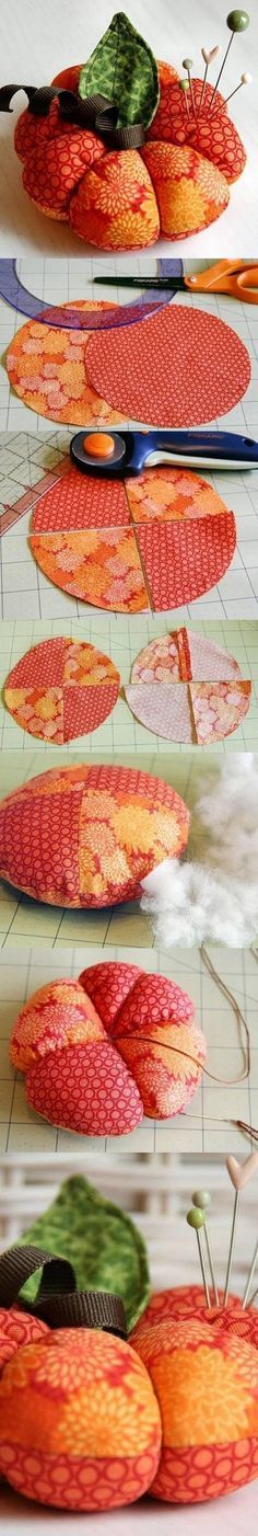 DIY Cute Pumpkin Pincushion Craft: Pre-heat oven to 200 º. To curl ribbon, tightly+evenly wrap grosgrain ribbon around narrow wooden dowel+pin each end in place with wooden clothespins. Lightly spray ribbon covered dowel with spray starch. Place on cookie sheet+bake for 4-5 min.. Let cool, unwrap+use on projects. -Kathy H