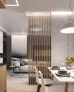 Living Room Partition Design, Living Room Divider, Room Partition Designs, Partition Ideas, Modern Contemporary Living Room, Modern Minimalist Living Room, Contemporary Kitchens, Divider Design, Divider Ideas
