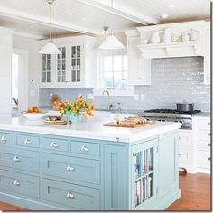 Great kitchen, love the light blue.
