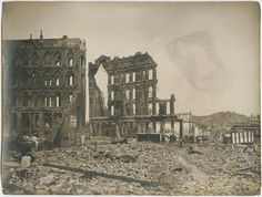 On April 18, 1906 at approximately 5:12 am, an earthquake strikes San Francisco.  The earthquake is felt from southern Oregon to south of Los Angeles. Baker and Hamilton Building, 1906. Photo by August Blumberg