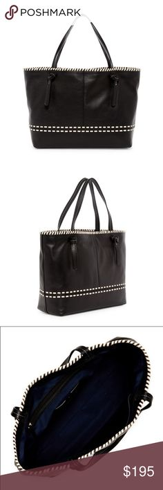 """NWT Cole Haan Brynn Black Leather Tote - Dual top handles  - Top magnetic closure  - Exterior features woven construction  - Interior features wall zip pocket, 2 media pockets, and card slot  - Dust bag included  - Approx. 11.5"""" H x 17"""" W x 5"""" D  - Approx. 8"""" handle drop. Leather exterior, polyester lining Cole Haan Bags Totes"""