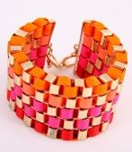 5 Row Coloured Ribbon thick bracelet, coloured ribbon bracelet, ribbon fashion bracelet, summer 2014 fashion jewellery, Sophie's Jewellery Box