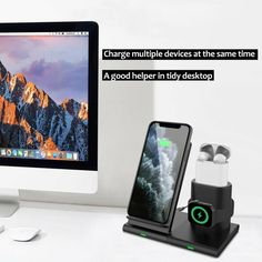 3 in 1 Qi Wireless Charger Charging Station Stand Dock For iPhone 11 Pro MaxXR 9