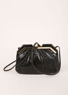Black Lizard Leather Clutch Bag
