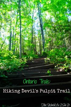Ontario is home to so many hiking trails with awesome views, stories and interesting sights. The Devil's Pulpit is just such a hike located in Caledon. Hiking Tips, Camping And Hiking, Backpacking, Hiking Spots, Ontario Travel, Canadian Travel, Canadian Rockies, Best Hikes, Vacation Spots