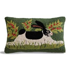 Hand hooked wool bunny pillow with vibrant green background by folk artist Lisa Hilliker offers lower back support on a couch, bed or chair. Wool Pillows, Diy Pillows, Wool Rug, Wool Felt, Handmade Cushions, Rug Hooking Patterns, Knitting Patterns, Wool Quilts, Hand Hooked Rugs
