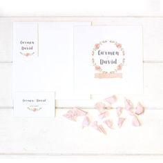 INVITACIÓN ''PINK FLOWERS'' - El rosa cuarzo como color principal en esta historia de amor.