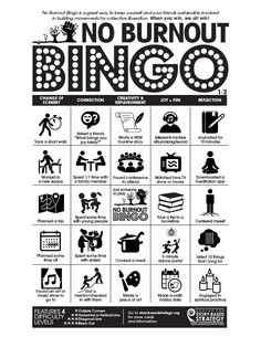 No Burnout Bingo — Center for Story-based Strategy Wellness Activities, Self Care Activities, Eid Activities, Human Bingo, Bts Angst, Workplace Motivation, Workplace Wellness, Therapy Tools, Therapy Ideas