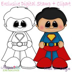 Little Super Hero 6 Exclusive Digital Stamp + Clipart How To Make Scrapbook, Scrapbook Cards, Felt Crafts, Paper Crafts, Foam Sheets, Paper Piecing Patterns, Scrapbook Embellishments, Digital Stamps, Baby Quilts