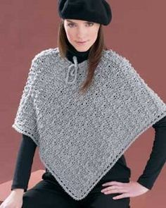 """Perfectly Paris Poncho.  Free pattern with joining diagram. This is cute, but the main reason I pinned  this is as a basic """"go by"""" because, really,  it can be done with just about any stitch, as pretty much all ponchos are simply two rectangles joined as shown in the diagram for this poncho.  Choose a stitch, embellish with trims and edgings - even appliques -  as desired and make it your own unique creation!"""