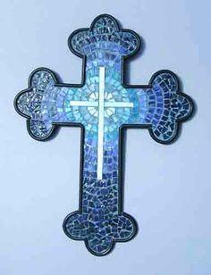 Mosaic Cross-Blue Circular