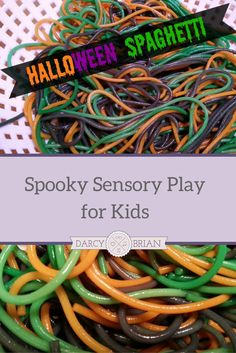 Make Halloween Spaghetti for spooky fun sensory play for kids! Babies and toddlers learn by experiencing things through their senses. Preschoolers and older kids can discuss how it feels. You don't have to play with your food, you can serve Halloween Spag