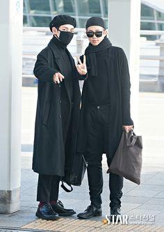 bts v kim taehyung and rapmon kim namjoon Korea Fashion, Kpop Fashion, Mens Fashion, Fall Fashion, Style Fashion, Fashion Outfits, Namjoon, Taehyung, Airport Fashion Kpop