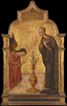 Sassetta (Stefano di Giovanni) ~ (Italian, Siena or Cortona ca. 1400–1450 Siena) ~ The Annunciation ~ ca. 1435 ~ Tempera on wood, gold ground ~ Robert Lehman Collection ~ Metropolitan Museum of Art