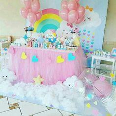 Birthday Party Rainbow Theme Baby Shower 16 Ideas For 2019 1st Birthday Party For Girls, Rainbow Birthday Party, Rainbow Theme, Unicorn Birthday Parties, Baby Party, Unicorn Party, Baby Birthday, Birthday Party Decorations, Birthday Cake