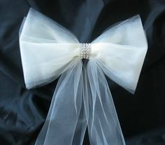 set of 6 pew bows in tulle with rhinestones pew decorations aisle bows rhinestone band tulle bows wedding decorations with pew clips