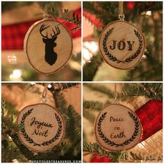 Classic wooden Christmas tree ornaments. Make your own Christmas tree ornaments by cutting small pieces of wood and painting on your favorite Christmas characters and quotes.