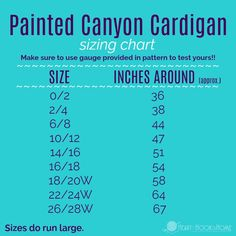 Painted Canyon Cardigan Sizing Chart